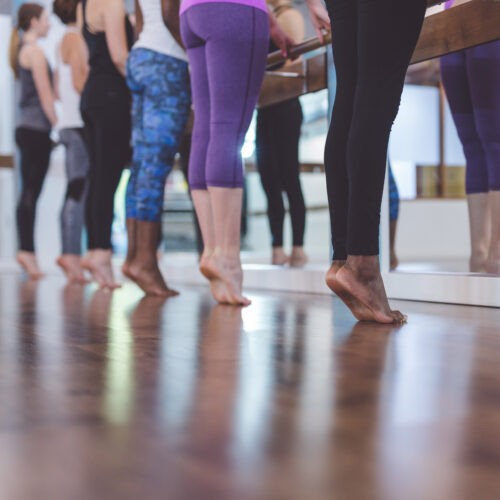 Multiethnic Group Of Women Do A Barre Workout Together In A Modern Health Club